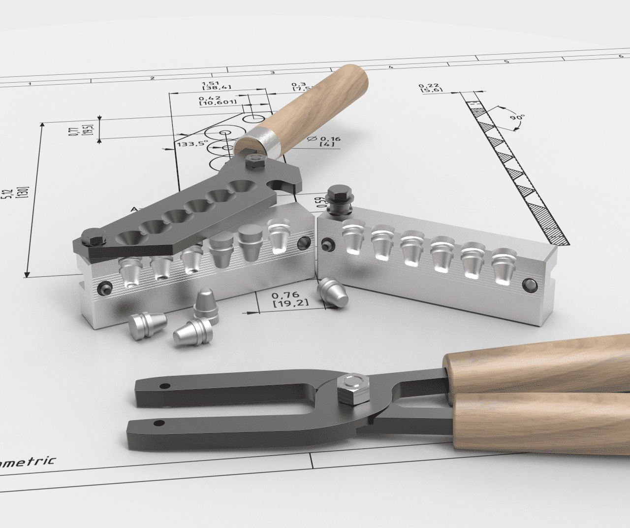 Mp molds 6cavity mold with bullet mold handles